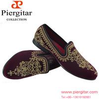 New Arrival Paisley Embroidered  Men Velvet Loafer Slippers Size 6-13 Free Shipping