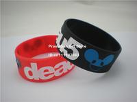 "Deadmau5 Logo Silicon Bracelet, Silicon Wristband, Debossed, 1"" Wide Band, Black & White Colour, Adult, 50pcs/Lot, Free Shipping"