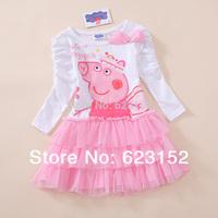 Retail Peppa Pig Dress for Baby Girls Child Dress Cotton Pink Dress Long Sleeve Kids Spring/Autumn Dress Girls Clothes