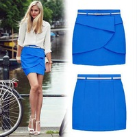 European style 2014 new summer skirt,  Plus size chiffon ruffles mini pencil skirt  female S M L XL XXL  Dropshipping QY8031SS