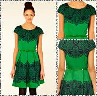 Free shipping  2014 Slim put on a large retro print dress positioning CT2100