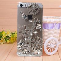 New Arrival Diamond Snowflake Tower Rhinestone case for iPhone 4 4s case for iPhone 5 5s case Mobile Border Protection Phone bag