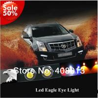 Free Shipping Car DIY 10PCS 1.8Cm 9W Waterproof Led Eagle Eye LED Daytime Running/Brake Lamps /Tail Lights DRL Red/Blue/White