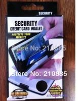 Free Shipping 800pcs 9 colors Aluminium Wallet with box  As Seen On TV Credit Card Holder Aluma Wallet Card Guard