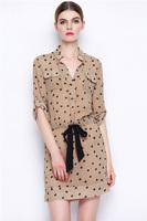Vintage Dot Print Silk Dress-1895/2014 New Spring & Summer Dress