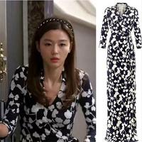 Women Spring Elegant Slim Long Sleeve Knitting Milk Silk Ankle-Length Dress Korean Star Style Printed V-neck Maxi Long Dress