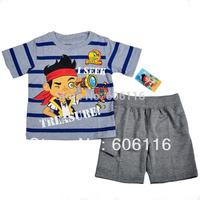 Wholesale Kids Suit boy 2pcs Captain Jack set with a short sleeve T-shirt + pants, children Clothes suit, 6sets/lot-WYX-9-6784