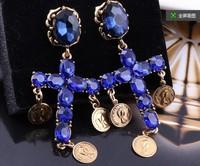 2014 fashion cross pendant crystal drop earrings Baroque vintage big earrings coin pendant gold plated cross earrings