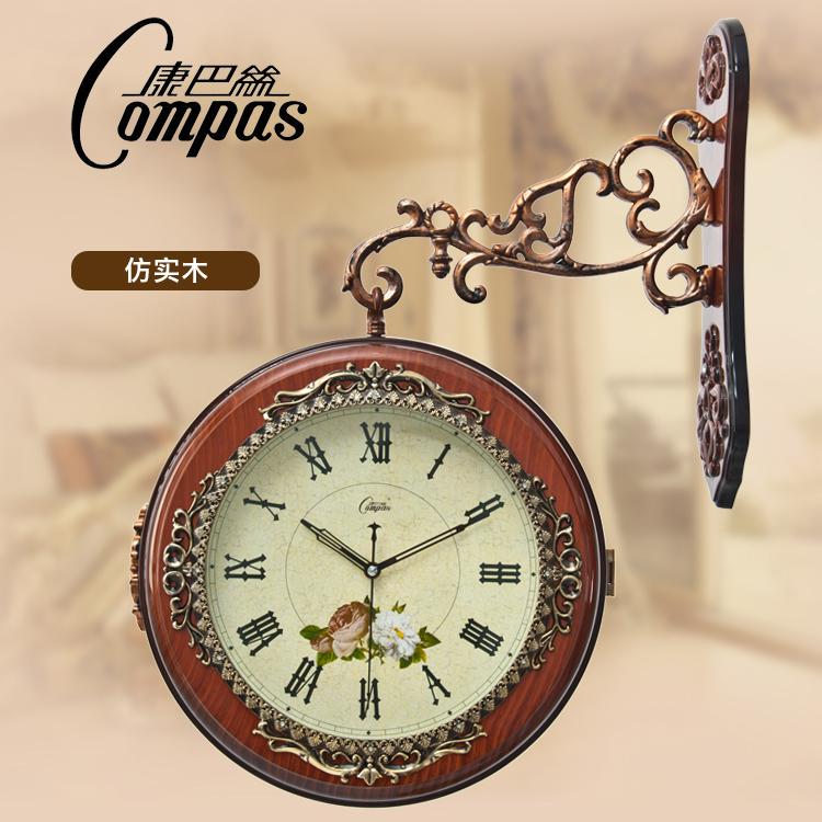 Mute wall clock rustic fashion quartz clock brief modern vintage double  faced