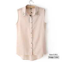 HZA029 Brand New Fashion Women Elegant Solid Color Shirts Turn-down Collar with Rivets Sleeveless Slim Chiffon Long Blouses Tops