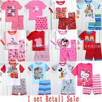1 pc Retail Sale 2014 Summer Kids Wear Fashion Baby Cartoon Pajamas 100% Cotton Girls Boys Printed Pyjamas Children's Sleepwears