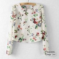 HZA031 Brand New Fashion Women Elegant Floral Flower Print Pullover Shirts O-neck Long Sleeve Slim Chiffon Short Blouses Tops