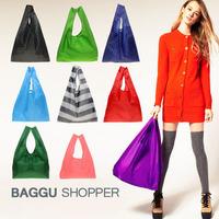 H1368 Candy color Japan BAGGU square pocket Shopping bag  Nylon Foladable Shopper FREE SHIPPING DROP SHIPPING WHOLESALE