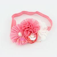 Free shipping shabby chic flower headband Eyelet flower with Dot chiffon flower headbands for Newborn Toddler photo prop 24pcs
