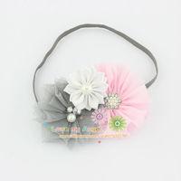 Baby girl headband shabby chic flower hairband Rhinestone Button satin tulle flower headband Toddle Hair accessories 12pcs/lot