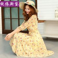 2014 summer fashion bohemia rustic high waist chiffon one-piece dress full dress summer