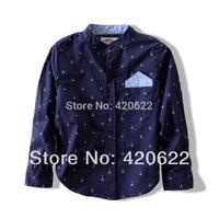 2014 spring new children's Anchor long sleeve / short sleeve shirt boys cotton casual shirts 2 colour 2-14age