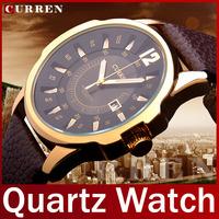 2014 New Fashion Brand Curren Genuine Leather Watch Men Quartz Watch Dress Watch Clock For Man Casual Wristwatch Waterproof