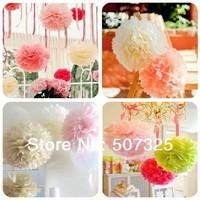 Mix 4 Sizes(6'', 10'', 12'', 14'') Tissue Pom Pom Paper Pompoms Wedding Decoratons Festive Supplies Home Decor, 25 Colors