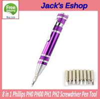 8 in 1 Phillips PH0 PH00 PH2 PEN STYLE Screwdriver   FREE SHIPPING