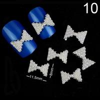 2014 Cheap Nail Jewelry White Pearl Bow Nail Art Decorations 100Pcs DIY Nail Jewelry Alloy Rhinestone