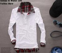 2014 Spring and summer men t shirt long-sleeve cotton collar men's t shirt Gray /Black/ White M-XXL free shipping
