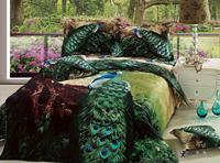 New Hot Beautiful 4PC 100% Cotton Comforter Duvet DOoona Cover Sets FULL / QUEEN / KING bedding set 4pcs animal peacock green
