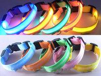 100Pcs/Lot Mesh Bands Flashing LED Nylon Dog Collars Night Safety Light Up Dog Collars Free Shipping