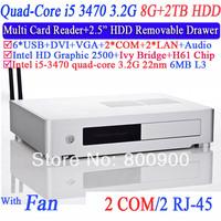 Mini ITX Case PCs computer Intel quad-core i5 3470 3.2GHz with 2 Nics 2 COM H61 motherboard multi card reader 8G RAM 2TB HD