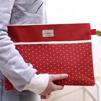 Polka dot oxford fabric double zipper double bag a4 file bag file folder storage bag