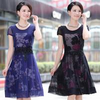 Summer elegant plus size slim one-piece dress quinquagenarian one-piece dress