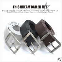 Factory Direct European Men's Fashion Wild PU Leather Belt Male Simple Scalp Square Buckle Classic Casual Black/White Belts 110