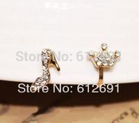 Hot Korean crystal earrings no pierced ear clip fashion heels Crown ear cuffs U-type earring ear cuff adjustable earring LM-C286