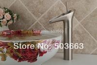 Waterfall Single Handle Brushed Nickel Basin Sink Bathroom Deck Mounted Single Hole Ceramic Faucet  Mixer Tap MF-749