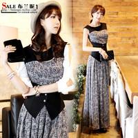 One-piece dress plus size clothing faux two piece set full dress bohemia 2014 spring ol one-piece dress
