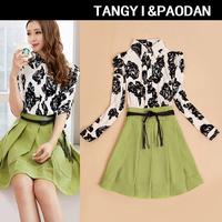 2014 spring plus size clothing slim long-sleeve basic turn-down collar print one-piece dress female medium-long