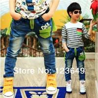 Free shipping 2014 Male child children's pants print letter male child all-match street jeans denim pants children jeans