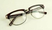 Discount Accessories wholesale Preppy style metal rivet plain mirror black glasses 3124  10pcs/lot