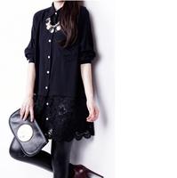 Fashion New 2014 Women Brand Blouses Hot Selling large size  Lace  Chiffon Blouse Tops Autumn-Summer  Sale Shirt