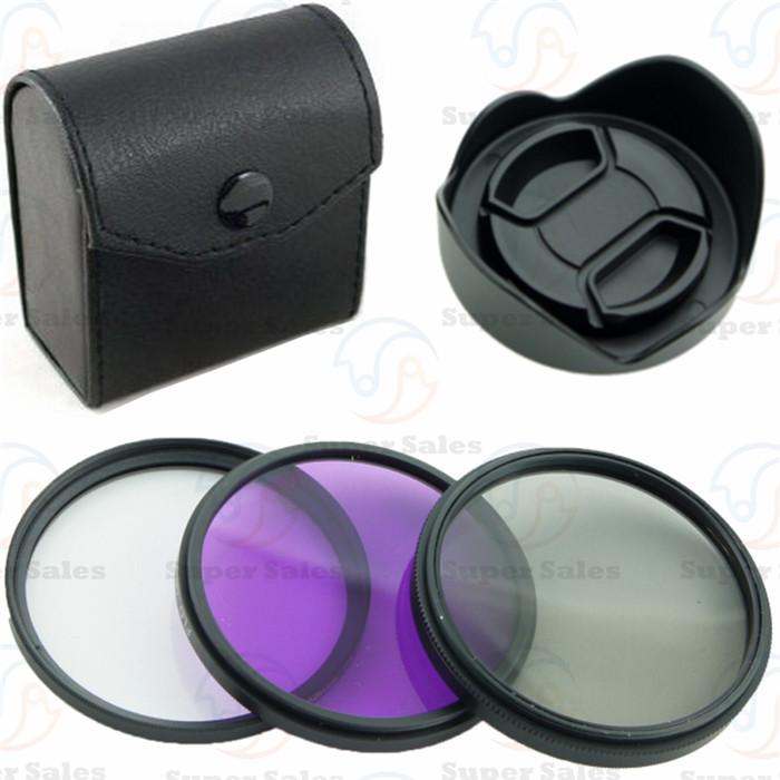 67mm UV + CPL + FLD Filter Kit for canon nikon sony + Petal Flower Lens Hood + Center-Pinch lens cap(China (Mainland))