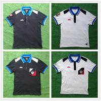 Free shipping Russia forward Men sports t-shirt turn-down collar short sleeve shirt 100% cotton jersey 2014