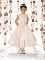 New Arrival Custom Made A -Line Jewel Neck Mid calf Lace Taffeta Flower Girl Dress First Communion Birthday Party Preteen Dress