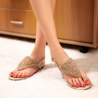 Free shipping hot-sell 2014 summer rhinestone flat sandals genuine leather japanned leather  sandals slippers There are big size