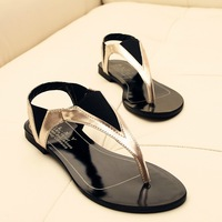 2014 summer flat color block word flip brief comfortable flat heel flip-flop women's shoes sandals size 35-39