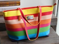 H1720  Mango MM Candy Faux saffiano leather Neon Rainbow Striped Tote Bag shopper  Free shipping wholesale Drop shipping J713