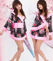 Sexy Lingerie Kimono Dress Set Flower Printing Sleepwear Brief Underwear Uniform Temptation