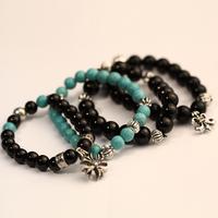 Turquoise nunatak cross flower bead bracelet 20 6398