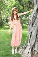 Free Shipping! 2014 New Summer Dresses Sleeveless Beach Dress,Braces Dress,Polka Dot Green Pink Dress