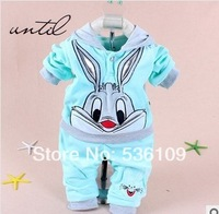 free shipping 2014 Spring Autumn girls  set cartoon rabbit velvet  twinset long sleeve set hoodie and pant baby clothing sets