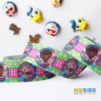 25mm printed with cartoon pattern rib knitting belt gift wrapping tape ribbon hair accessory tousheng diy
